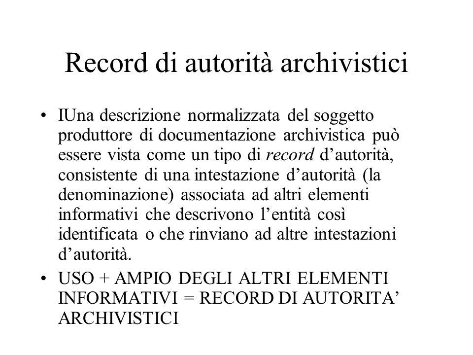 Record di autorità archivistici