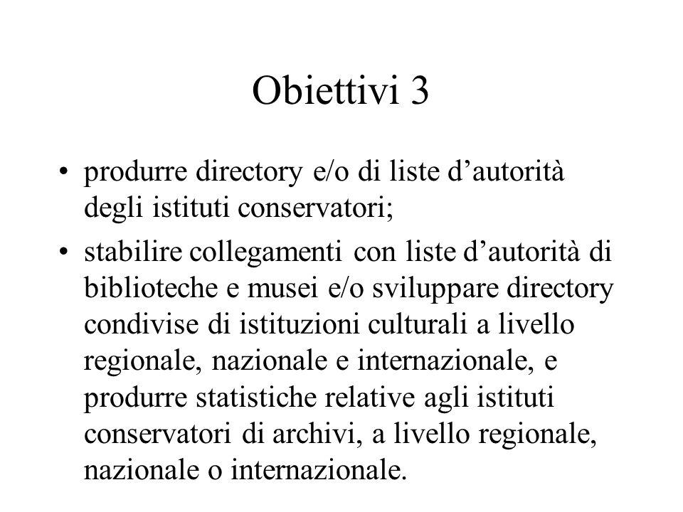 Obiettivi 3 produrre directory e/o di liste d'autorità degli istituti conservatori;