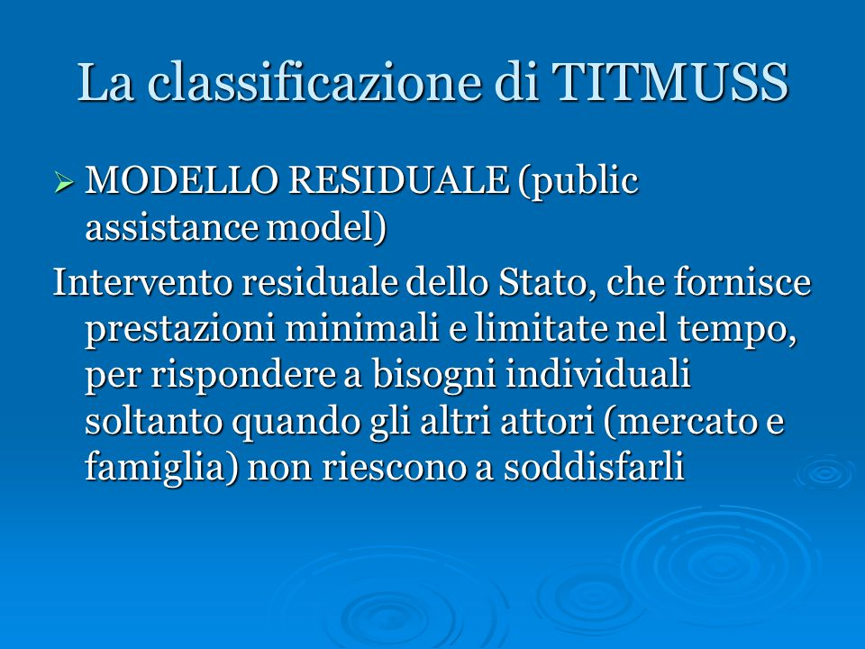 La classificazione di TITMUSS
