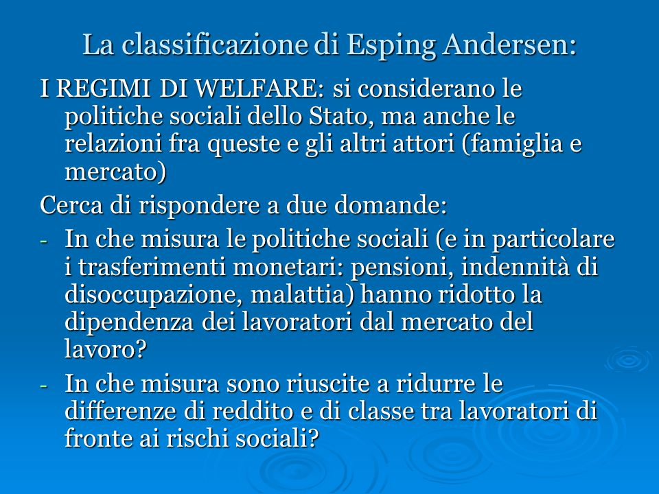 La classificazione di Esping Andersen: