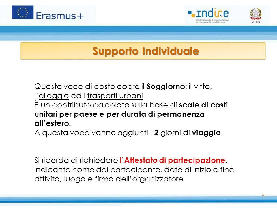 Supporto Individuale Questa voce di costo copre il Soggiorno: il vitto, l'alloggio ed i trasporti urbani.