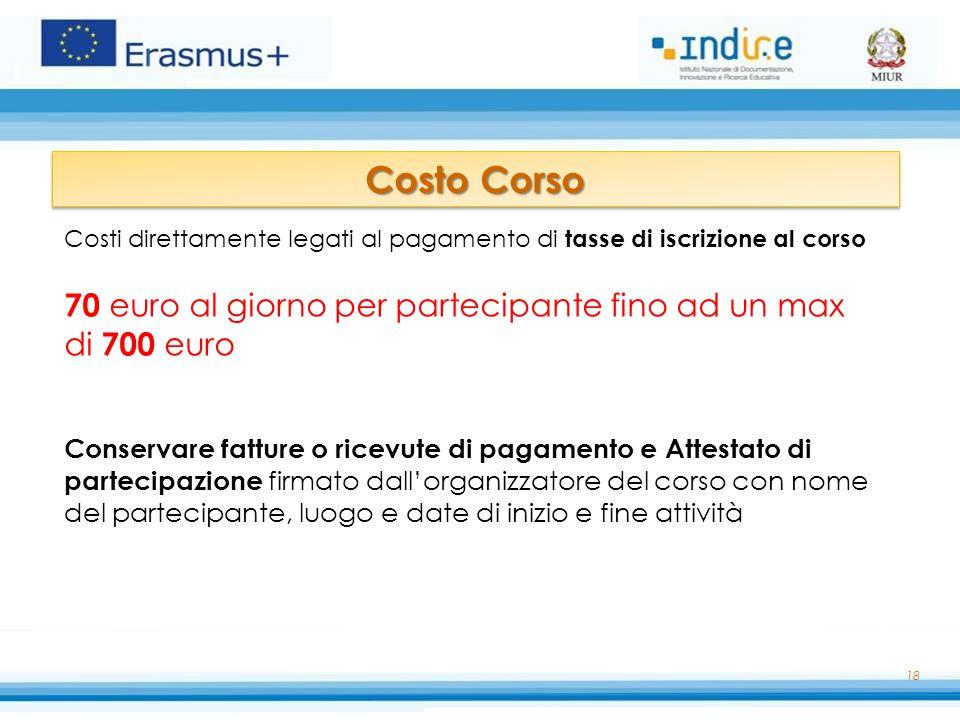 Costo Corso Costi direttamente legati al pagamento di tasse di iscrizione al corso. 70 euro al giorno per partecipante fino ad un max di 700 euro.