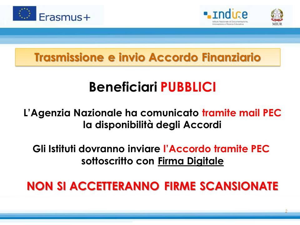Beneficiari PUBBLICI Trasmissione e invio Accordo Finanziario