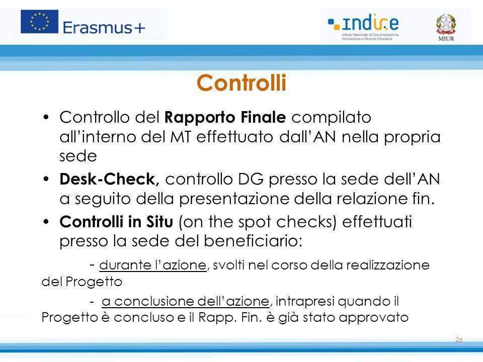 Controlli Controllo del Rapporto Finale compilato all'interno del MT effettuato dall'AN nella propria sede.