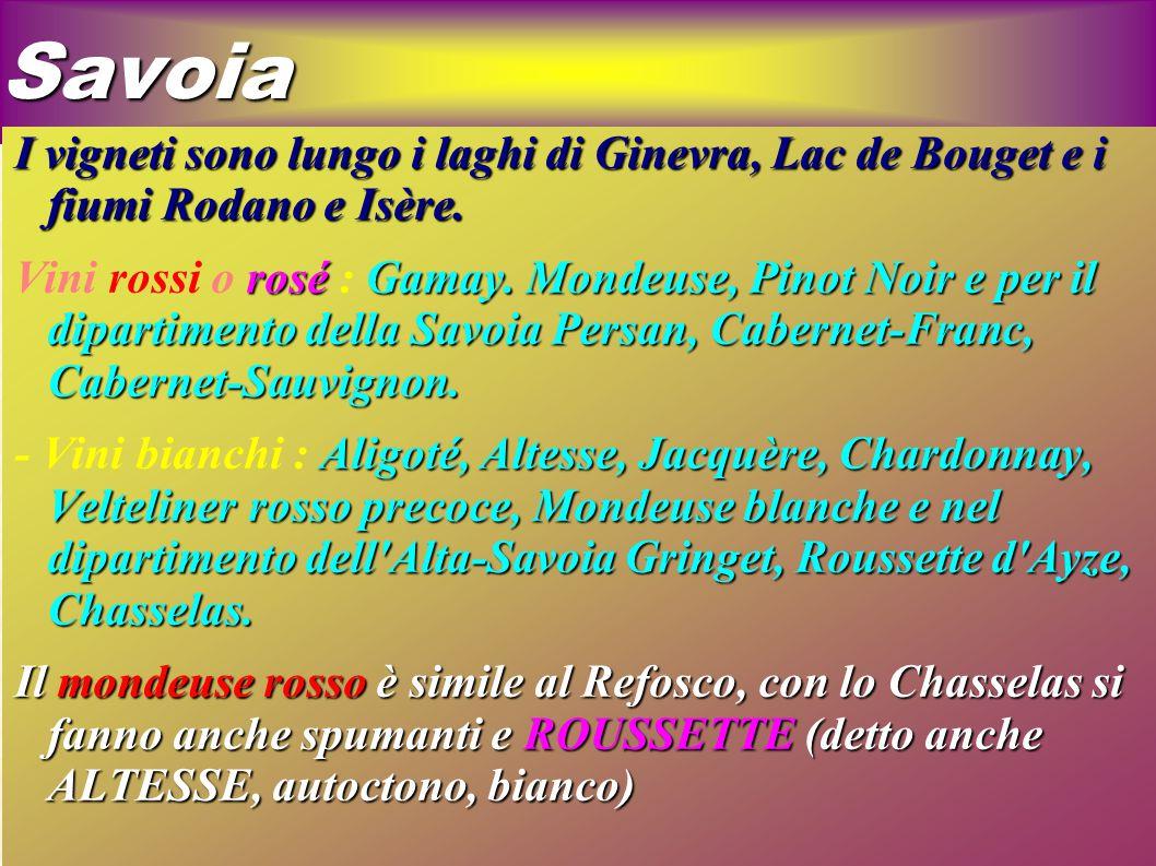 Savoia I vigneti sono lungo i laghi di Ginevra, Lac de Bouget e i fiumi Rodano e Isère.