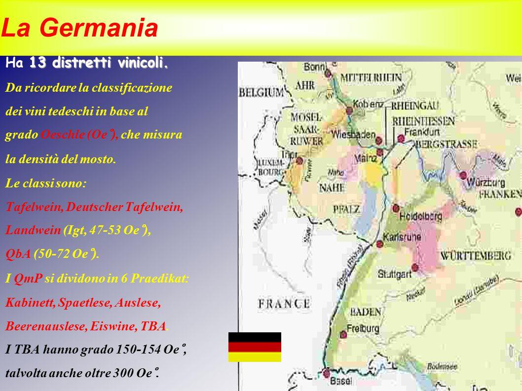 La Germania Ha 13 distretti vinicoli. Da ricordare la classificazione