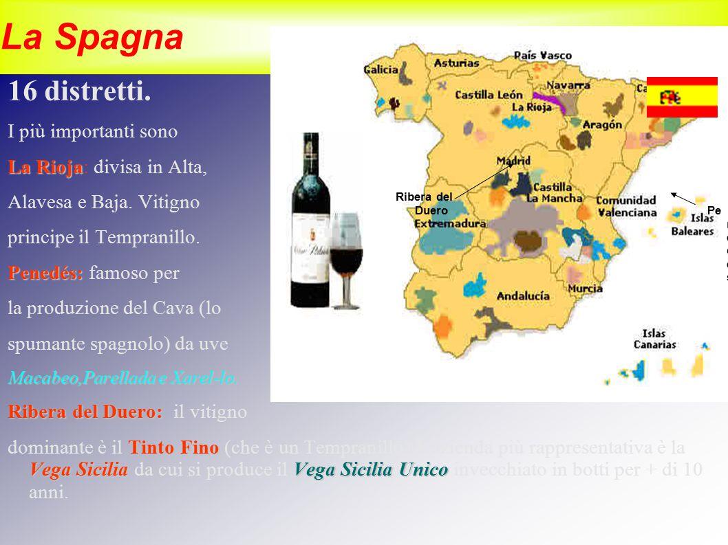 La Spagna 16 distretti. I più importanti sono