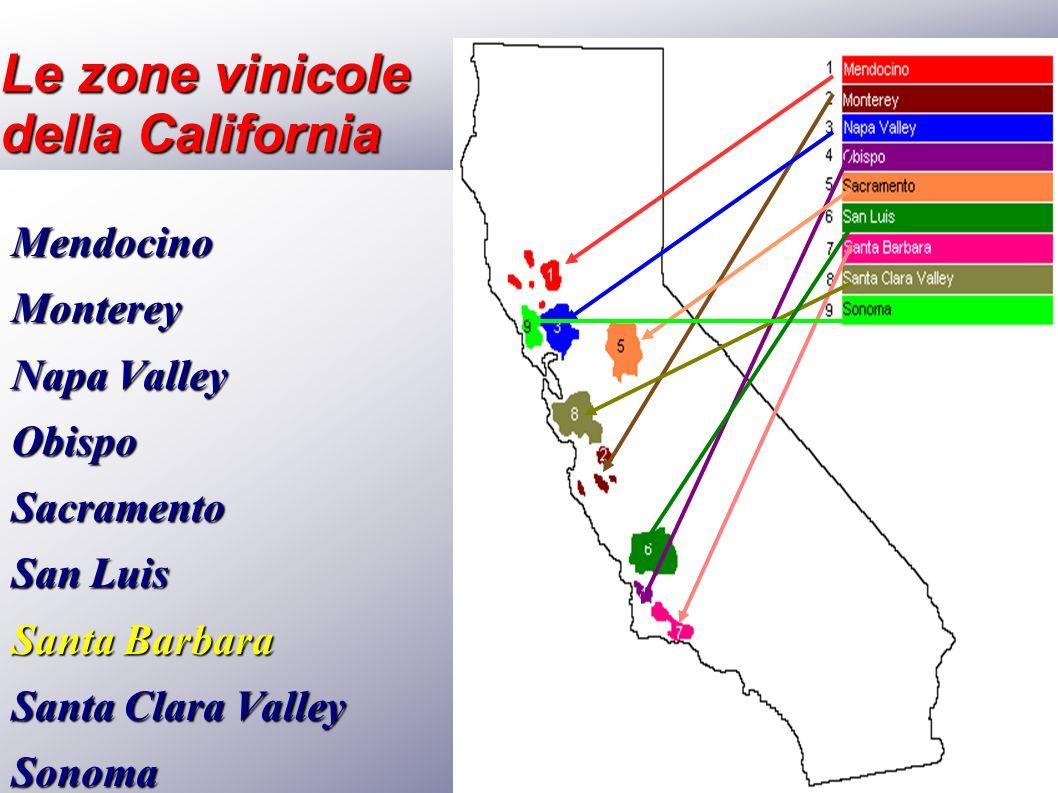 Le zone vinicole della California