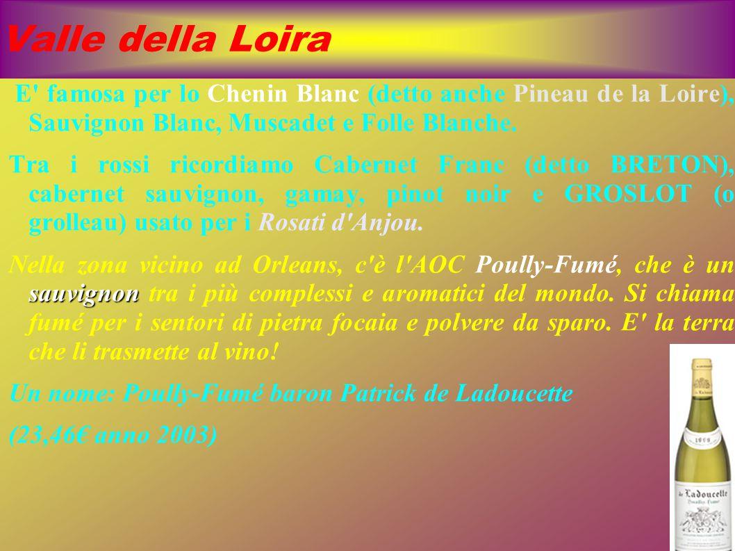 Valle della Loira E famosa per lo Chenin Blanc (detto anche Pineau de la Loire), Sauvignon Blanc, Muscadet e Folle Blanche.