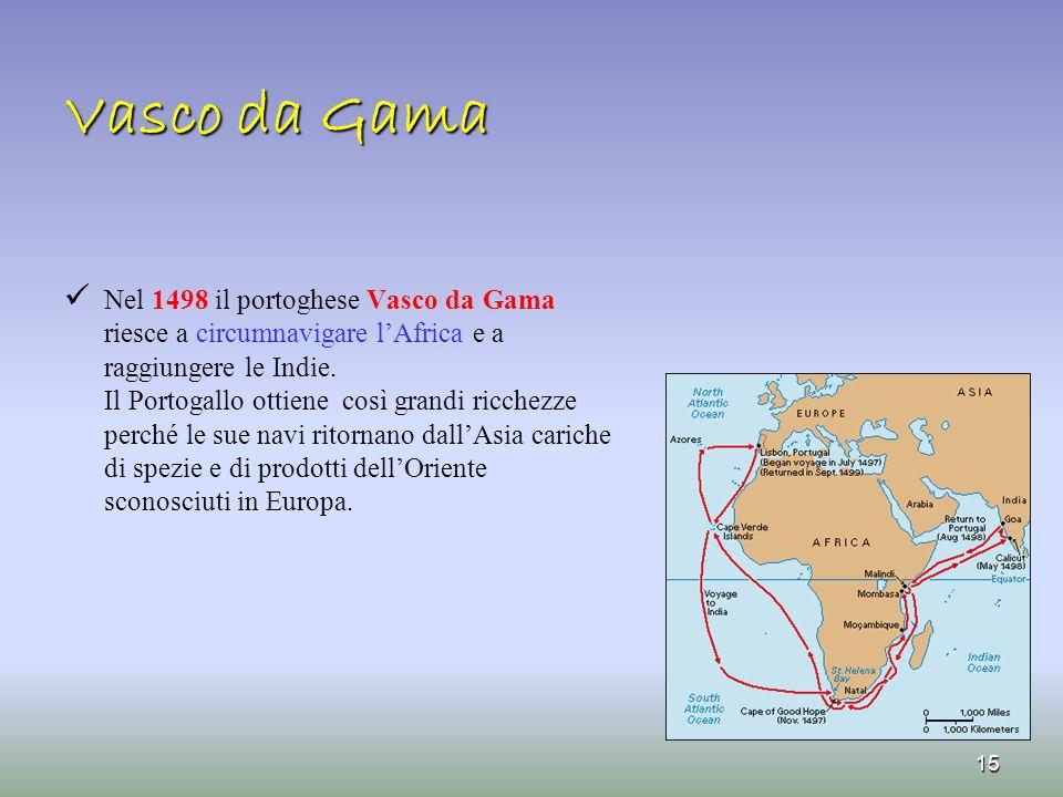 Vasco da Gama Nel 1498 il portoghese Vasco da Gama riesce a circumnavigare l'Africa e a raggiungere le Indie.