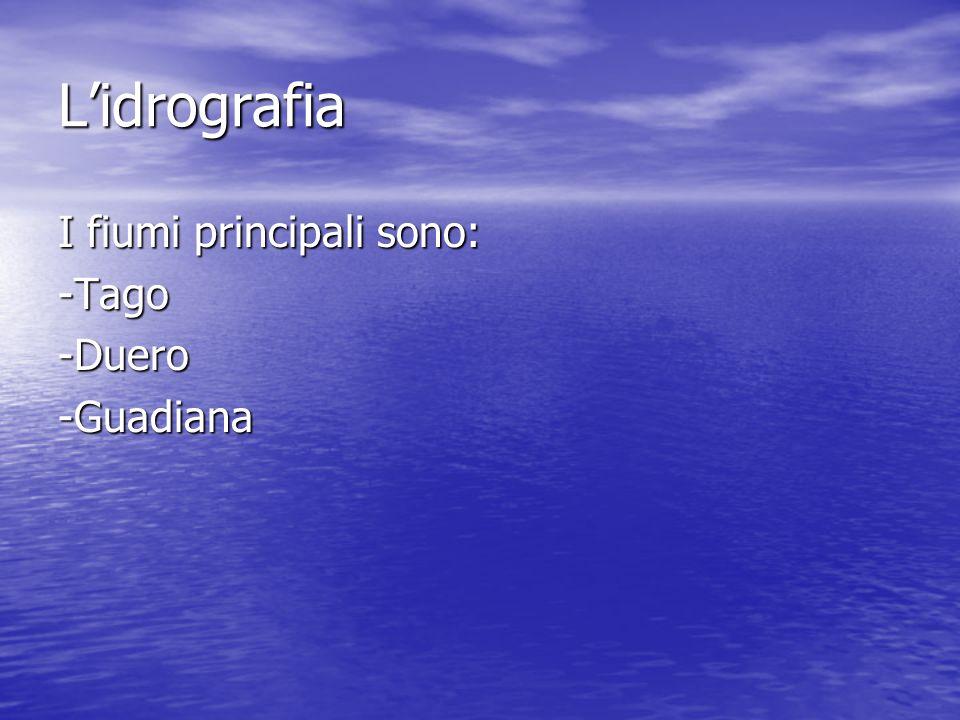 L'idrografia I fiumi principali sono: -Tago -Duero -Guadiana