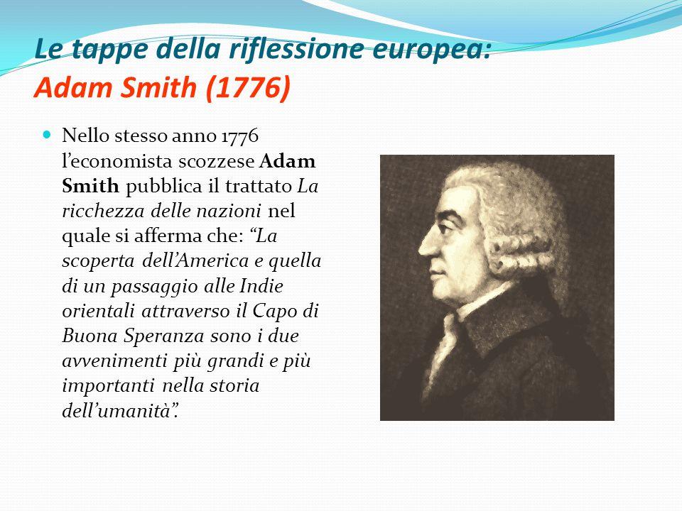 Le tappe della riflessione europea: Adam Smith (1776)
