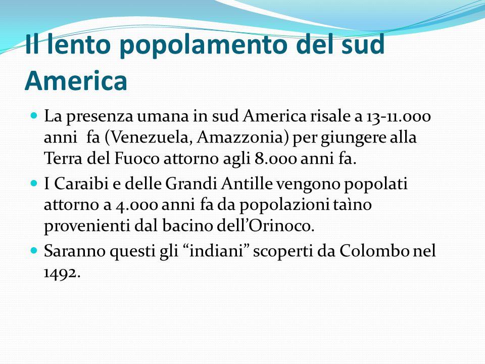 Il lento popolamento del sud America