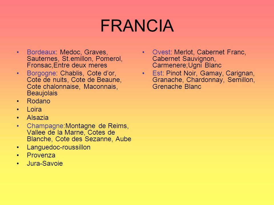 FRANCIA Bordeaux: Medoc, Graves, Sauternes, St.emillon, Pomerol, Fronsac,Entre deux meres.