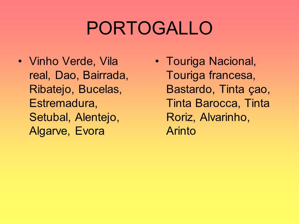 PORTOGALLO Vinho Verde, Vila real, Dao, Bairrada, Ribatejo, Bucelas, Estremadura, Setubal, Alentejo, Algarve, Evora.