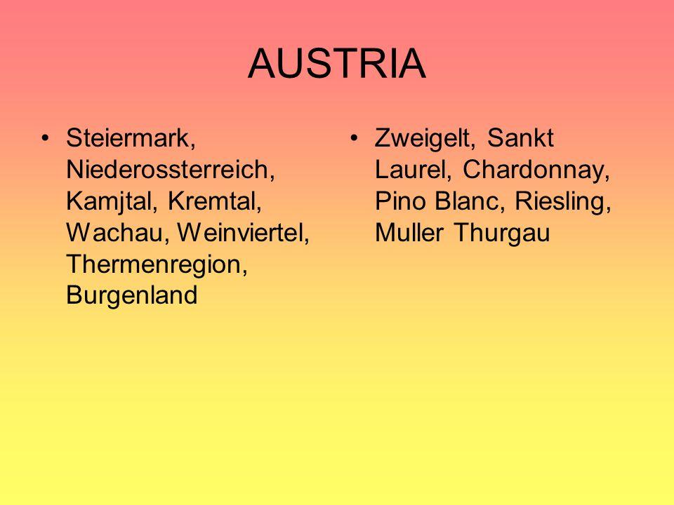 AUSTRIA Steiermark, Niederossterreich, Kamjtal, Kremtal, Wachau, Weinviertel, Thermenregion, Burgenland.