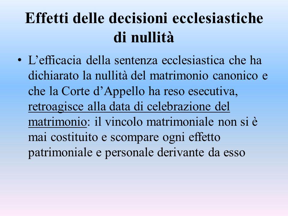Effetti delle decisioni ecclesiastiche di nullità