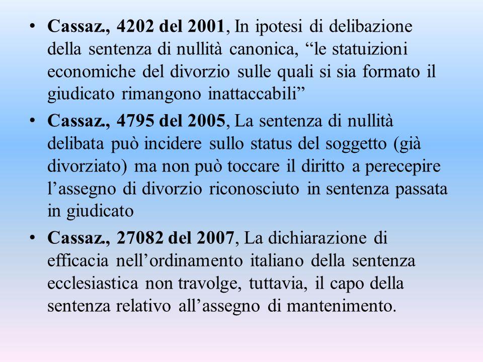 Cassaz., 4202 del 2001, In ipotesi di delibazione della sentenza di nullità canonica, le statuizioni economiche del divorzio sulle quali si sia formato il giudicato rimangono inattaccabili