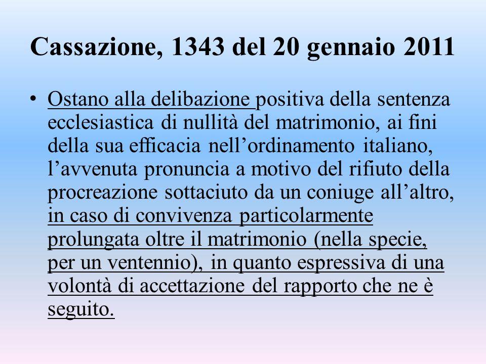 Cassazione, 1343 del 20 gennaio 2011