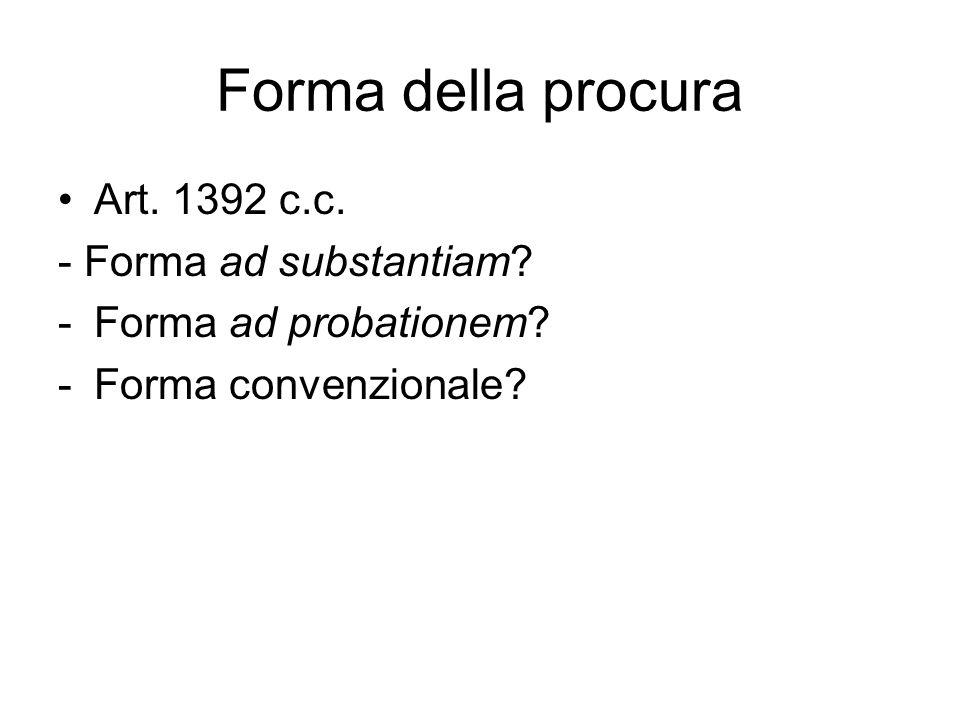 Forma della procura Art. 1392 c.c. - Forma ad substantiam