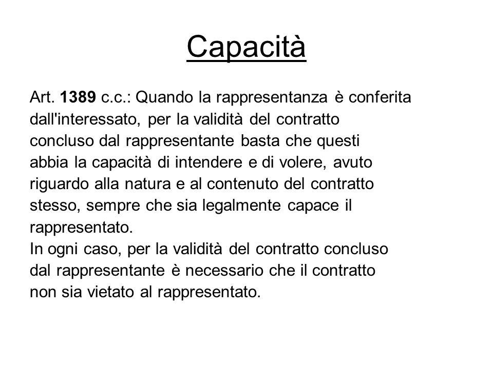Capacità Art. 1389 c.c.: Quando la rappresentanza è conferita