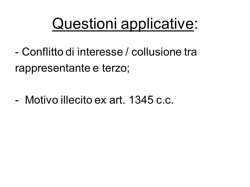 Questioni applicative: