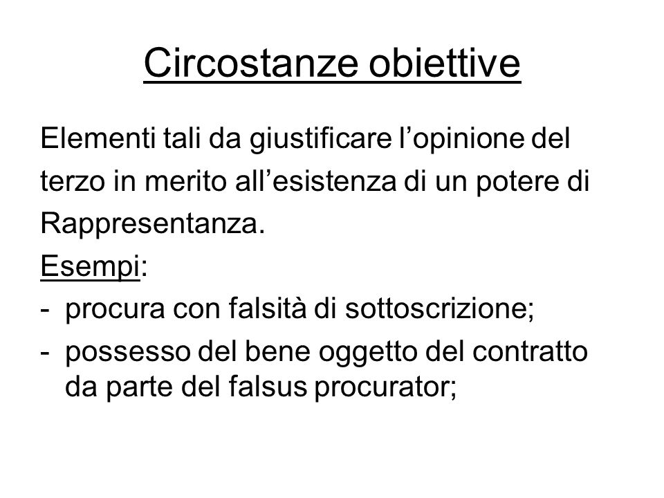 Circostanze obiettive