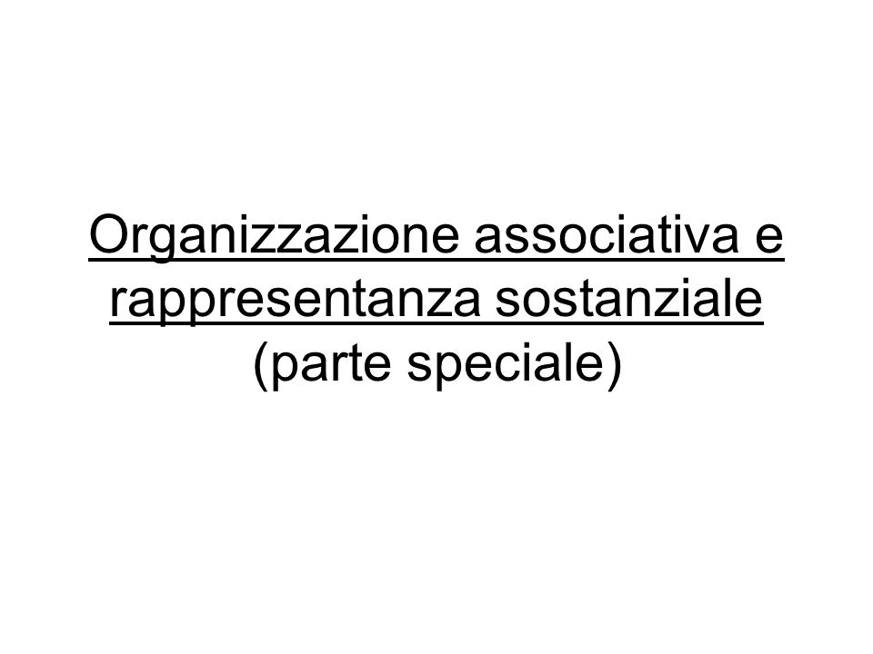 Organizzazione associativa e rappresentanza sostanziale (parte speciale)