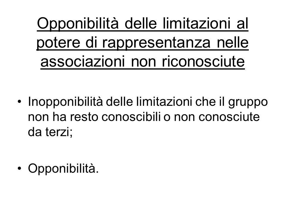 Opponibilità delle limitazioni al potere di rappresentanza nelle associazioni non riconosciute