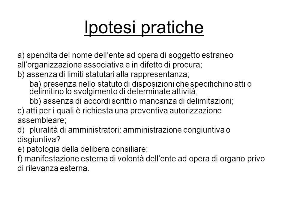 Ipotesi pratiche a) spendita del nome dell'ente ad opera di soggetto estraneo. all'organizzazione associativa e in difetto di procura;