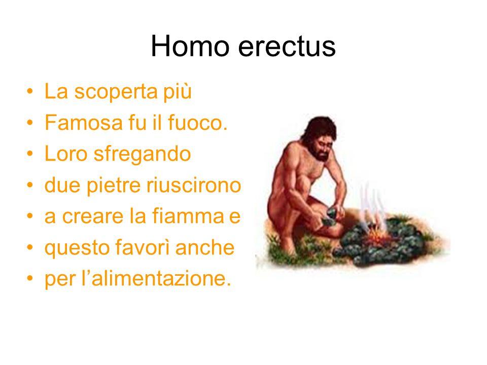 Homo erectus La scoperta più Famosa fu il fuoco. Loro sfregando