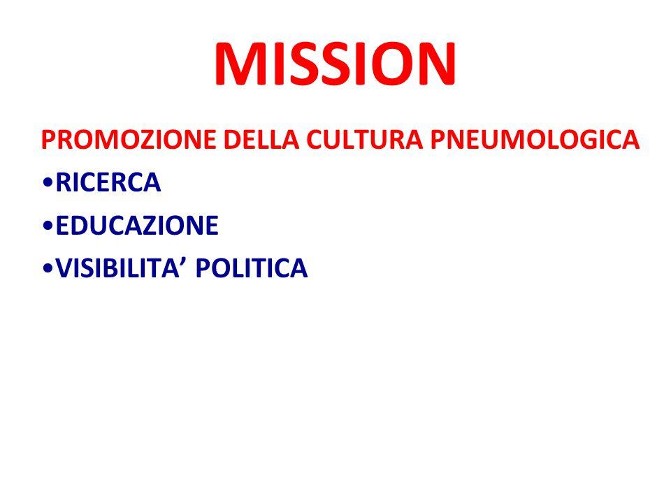 MISSION PROMOZIONE DELLA CULTURA PNEUMOLOGICA RICERCA EDUCAZIONE