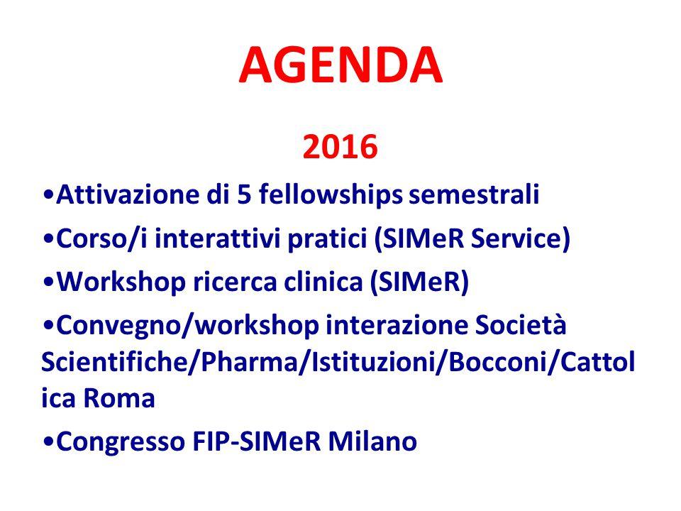 AGENDA 2016 Attivazione di 5 fellowships semestrali