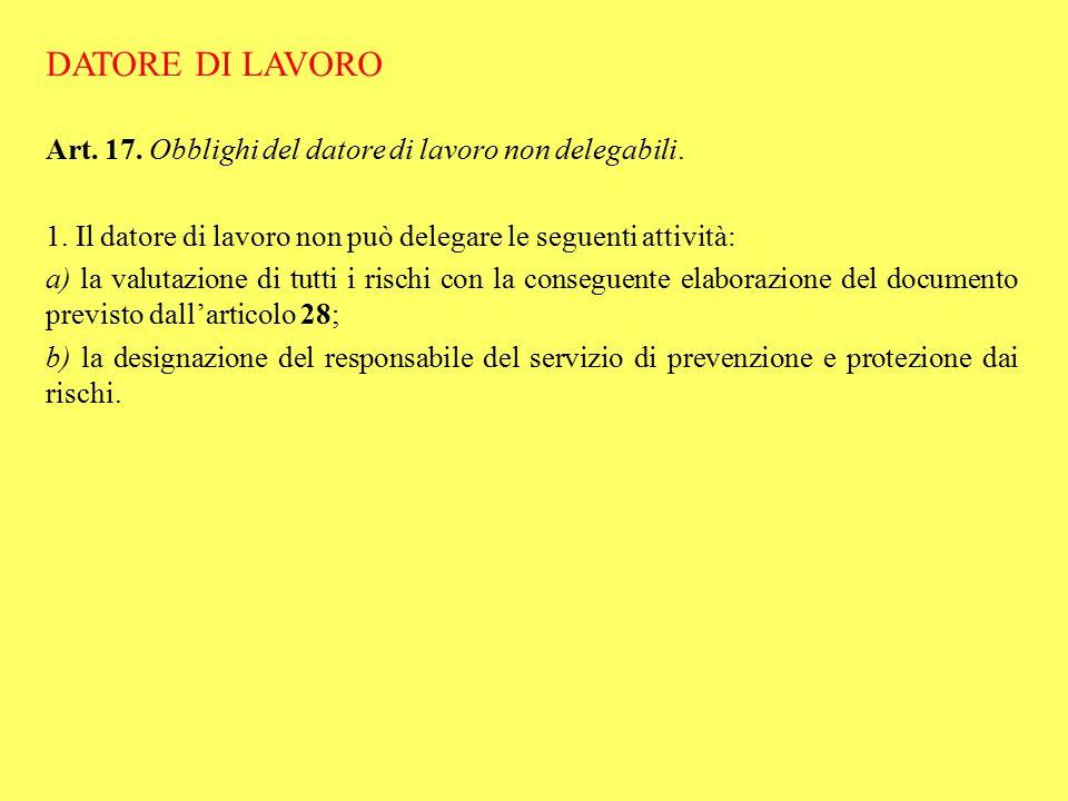 DATORE DI LAVORO Art. 17. Obblighi del datore di lavoro non delegabili. 1. Il datore di lavoro non può delegare le seguenti attività: