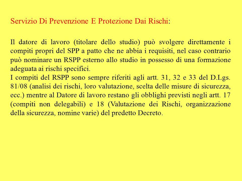 Servizio Di Prevenzione E Protezione Dai Rischi: