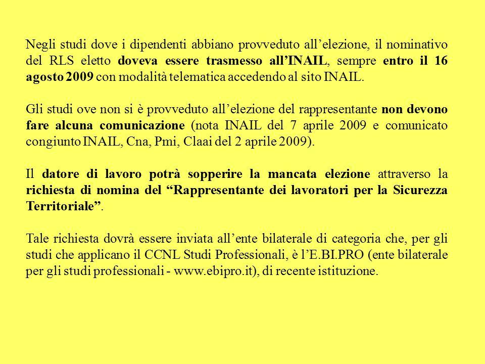 Negli studi dove i dipendenti abbiano provveduto all'elezione, il nominativo del RLS eletto doveva essere trasmesso all'INAIL, sempre entro il 16 agosto 2009 con modalità telematica accedendo al sito INAIL.