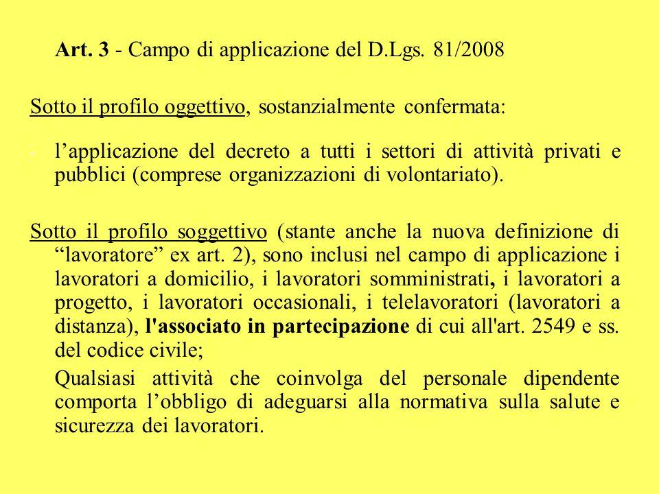 Art. 3 - Campo di applicazione del D.Lgs. 81/2008