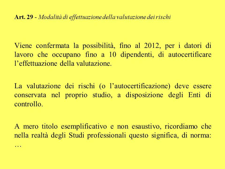 Art. 29 - Modalità di effettuazione della valutazione dei rischi