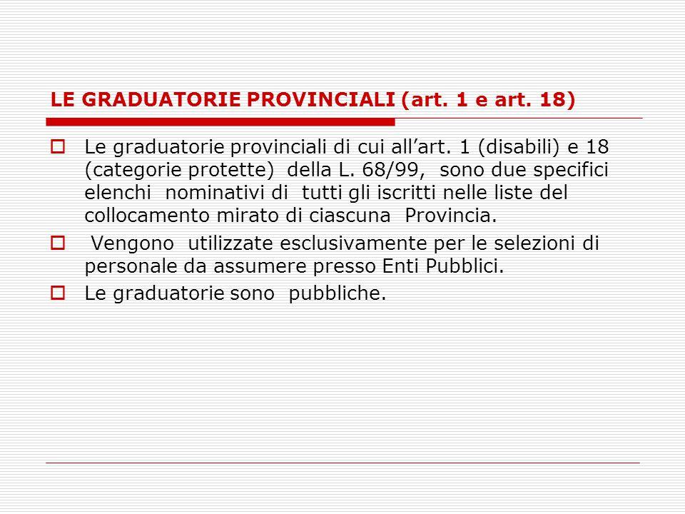 LE GRADUATORIE PROVINCIALI (art. 1 e art. 18)