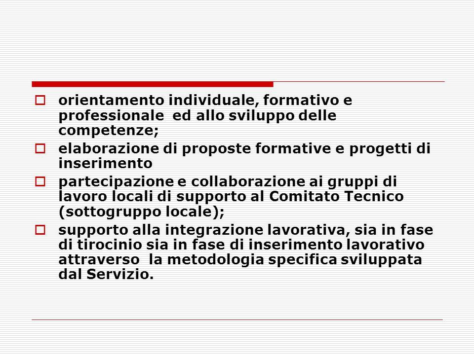 orientamento individuale, formativo e professionale ed allo sviluppo delle competenze;