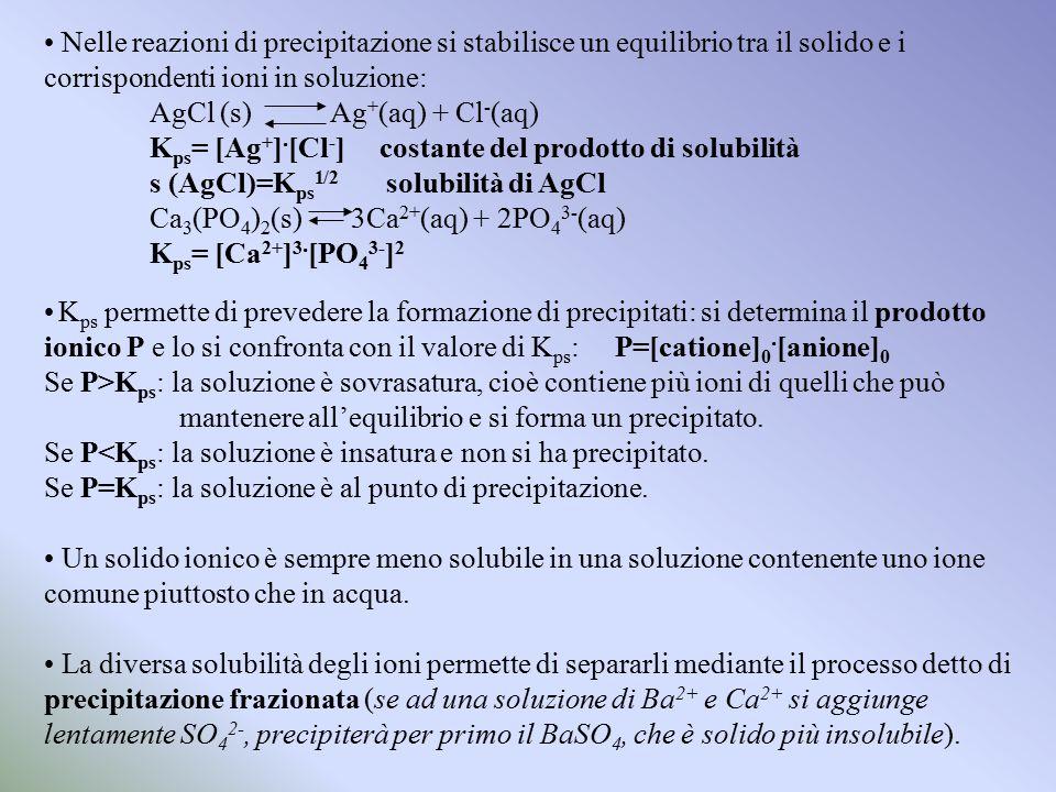 Nelle reazioni di precipitazione si stabilisce un equilibrio tra il solido e i