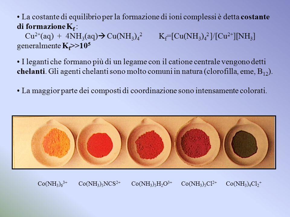 La costante di equilibrio per la formazione di ioni complessi è detta costante di formazione Kf :