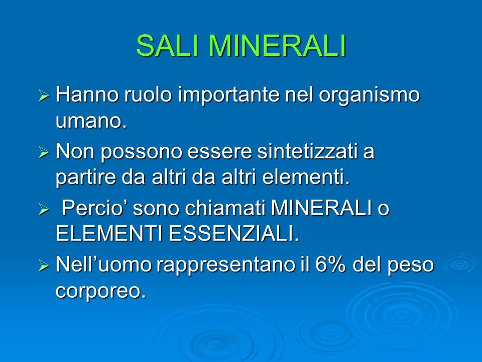 SALI MINERALI Hanno ruolo importante nel organismo umano.