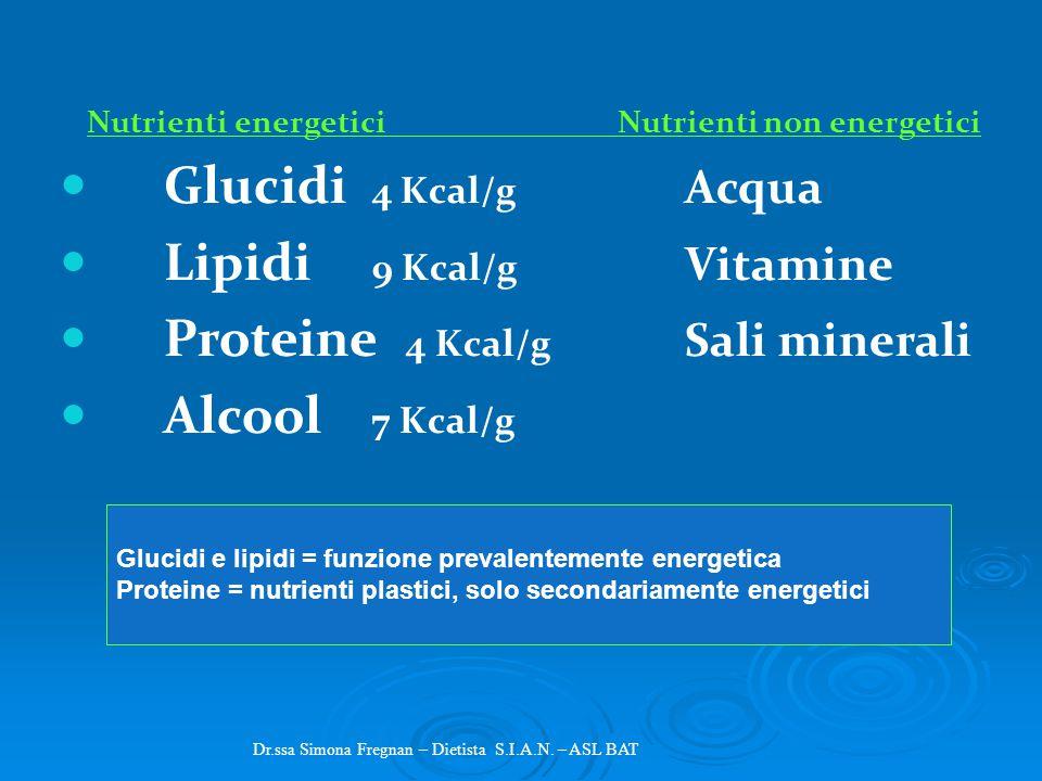 Nutrienti energetici _______Nutrienti non energetici