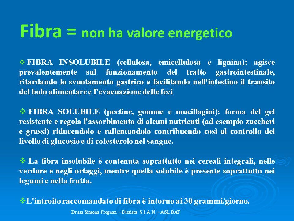 Fibra = non ha valore energetico