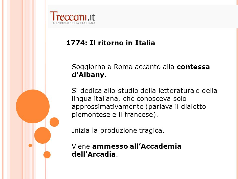 1774: Il ritorno in Italia Soggiorna a Roma accanto alla contessa d'Albany.