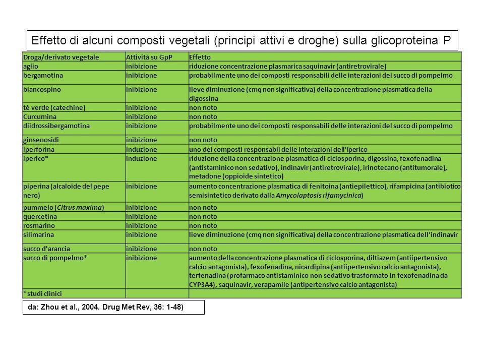Effetto di alcuni composti vegetali (principi attivi e droghe) sulla glicoproteina P
