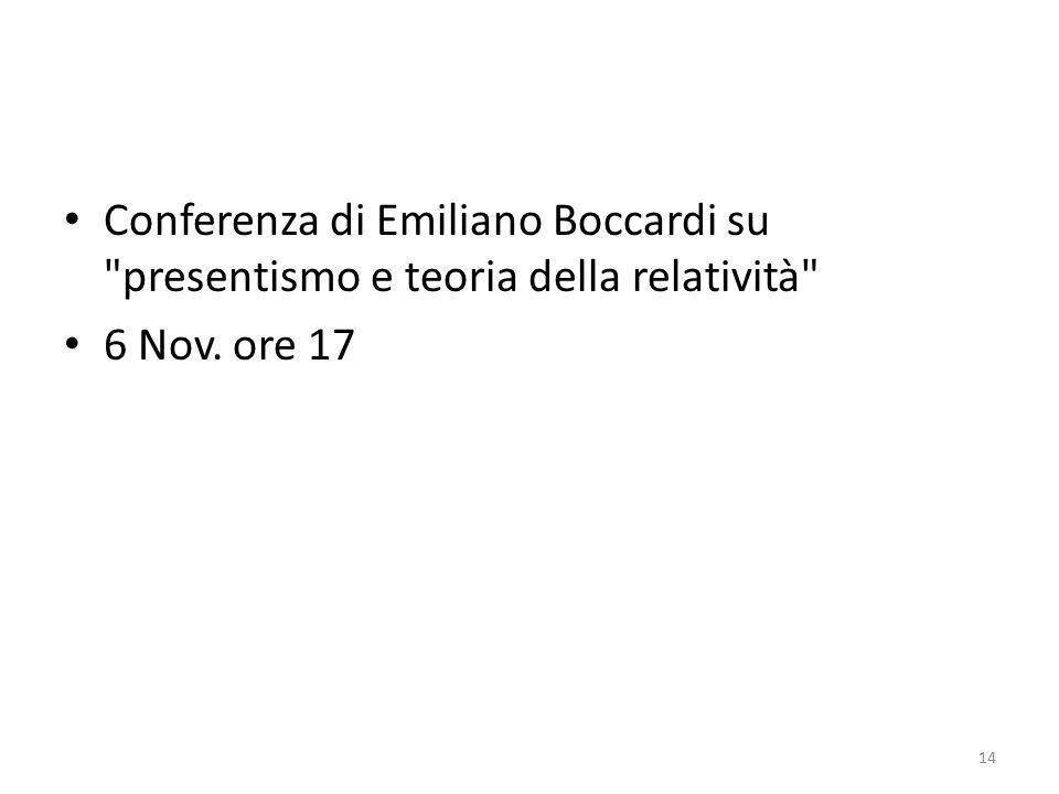 Conferenza di Emiliano Boccardi su presentismo e teoria della relatività