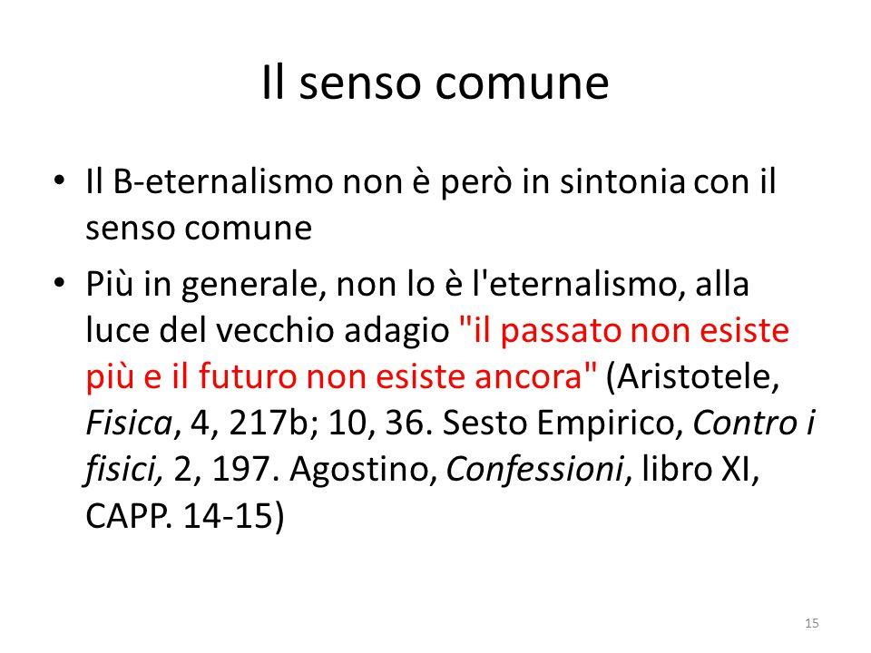 Il senso comune Il B-eternalismo non è però in sintonia con il senso comune.