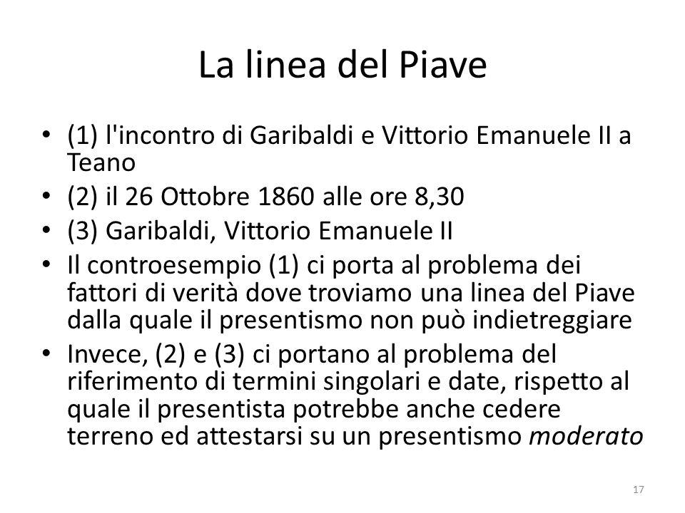 La linea del Piave (1) l incontro di Garibaldi e Vittorio Emanuele II a Teano. (2) il 26 Ottobre 1860 alle ore 8,30.